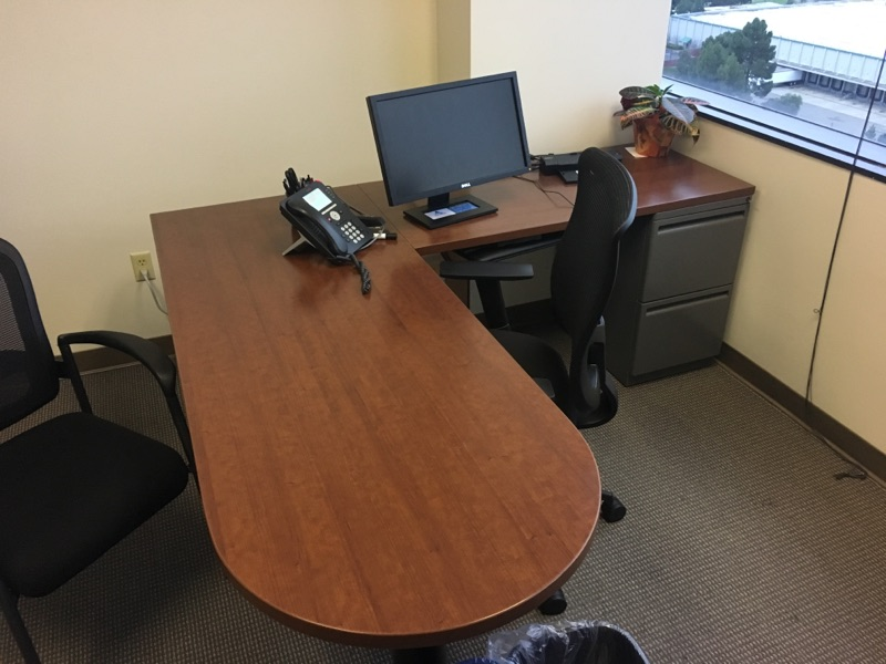 Corner desk in a private office